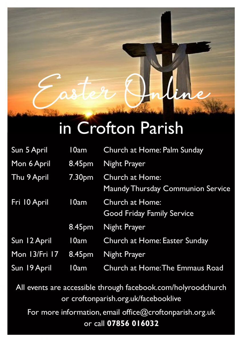 poster showing easter online services