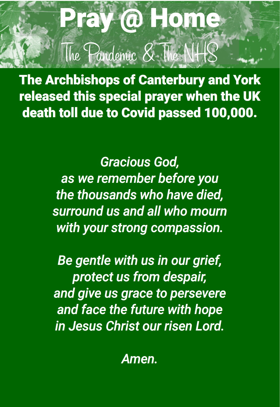 image with text of archbishops prayer